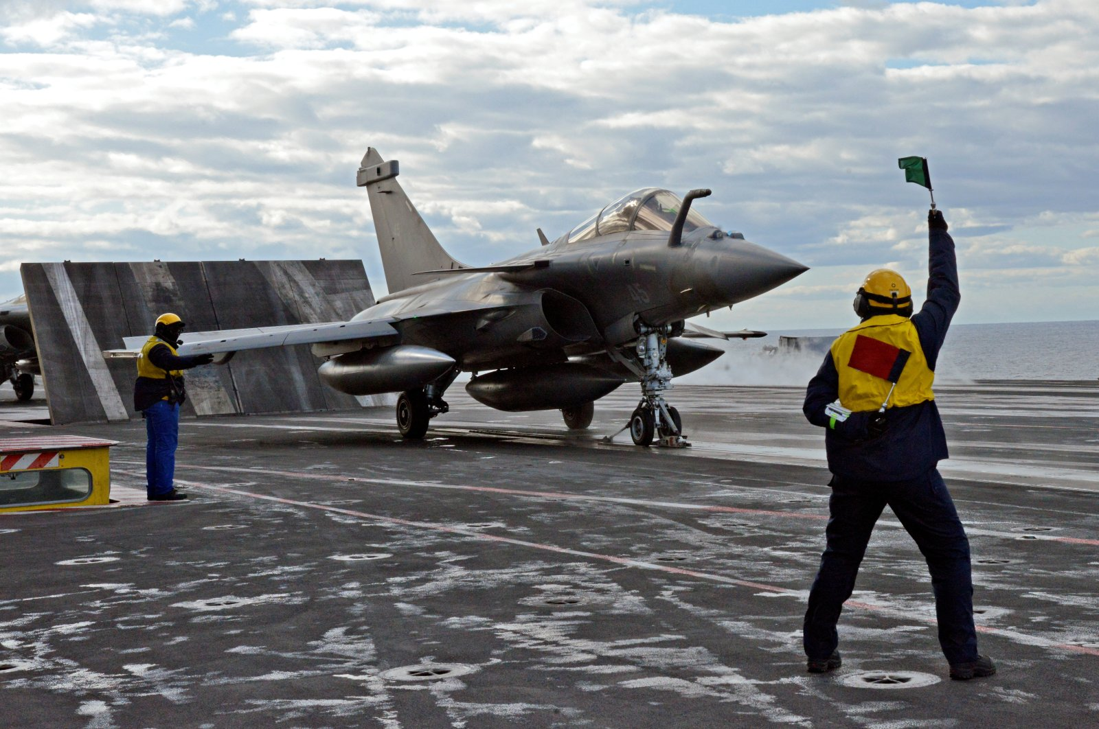 A French Rafale fighter jet is catapulted from the French aircraft carrier Charles de Gaulle, off the eastern coast of Cyprus in the Mediterranean Sea, Feb. 10, 2020. (AFP Photo)