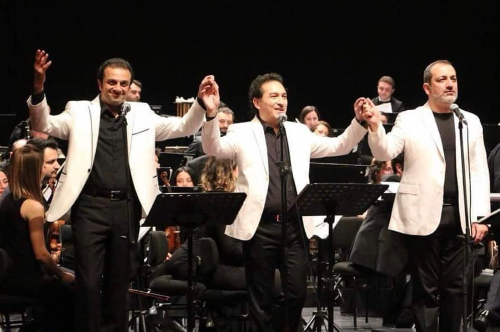 The Three Tenors Şenol Talınlı (L), Ayhan Uştuk (C) and Aykut Çınar.