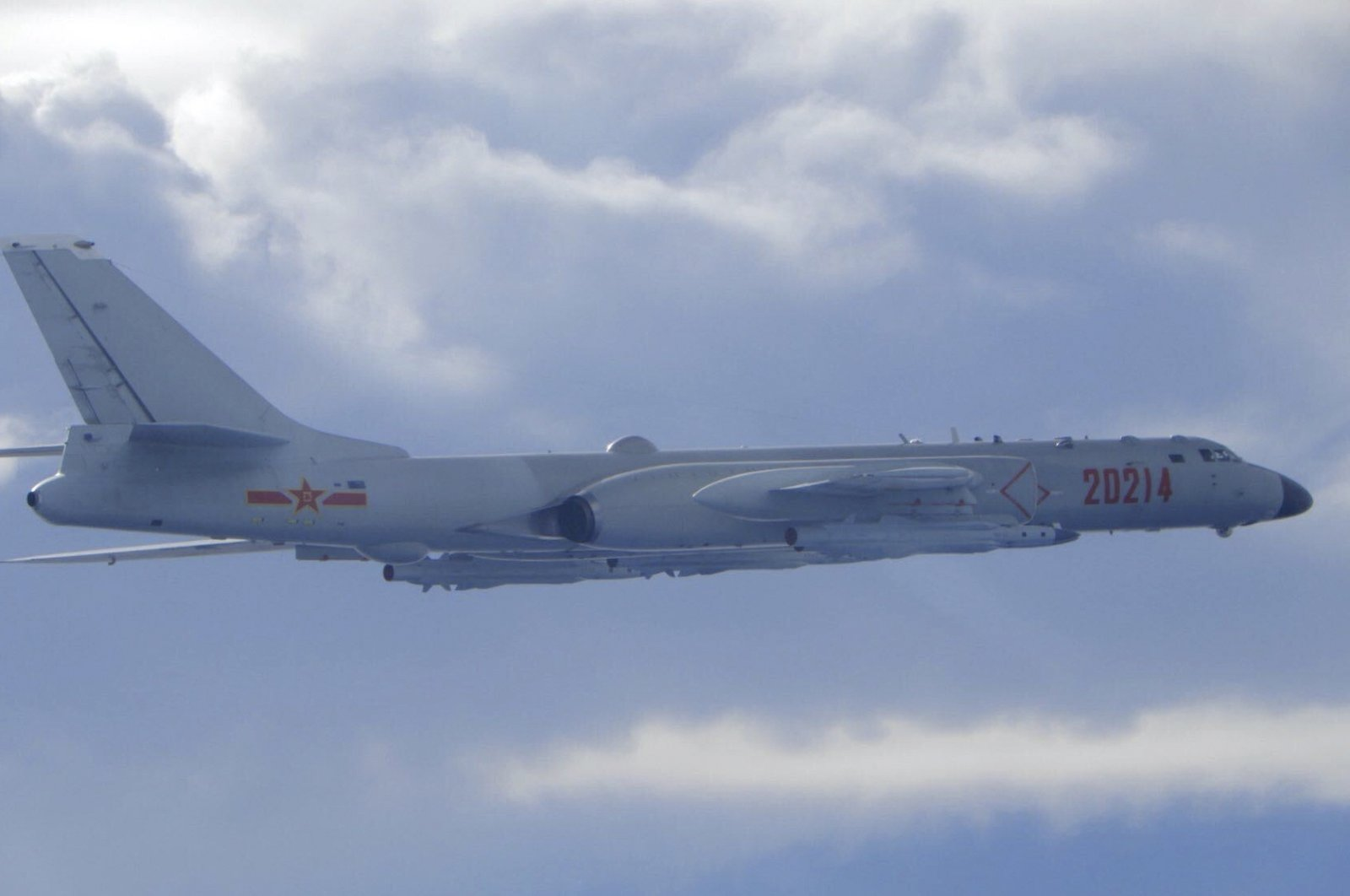 In this photo released by the Taiwan Ministry of National Defense, a Chinese People's Liberation Army H-6 bomber fitted with the YJ-12 anti-ship cruise missile is seen flying near the Taiwan air defense identification zone near Taiwan, Sept. 18, 2020. (Taiwan Ministry of National Defense via AP)