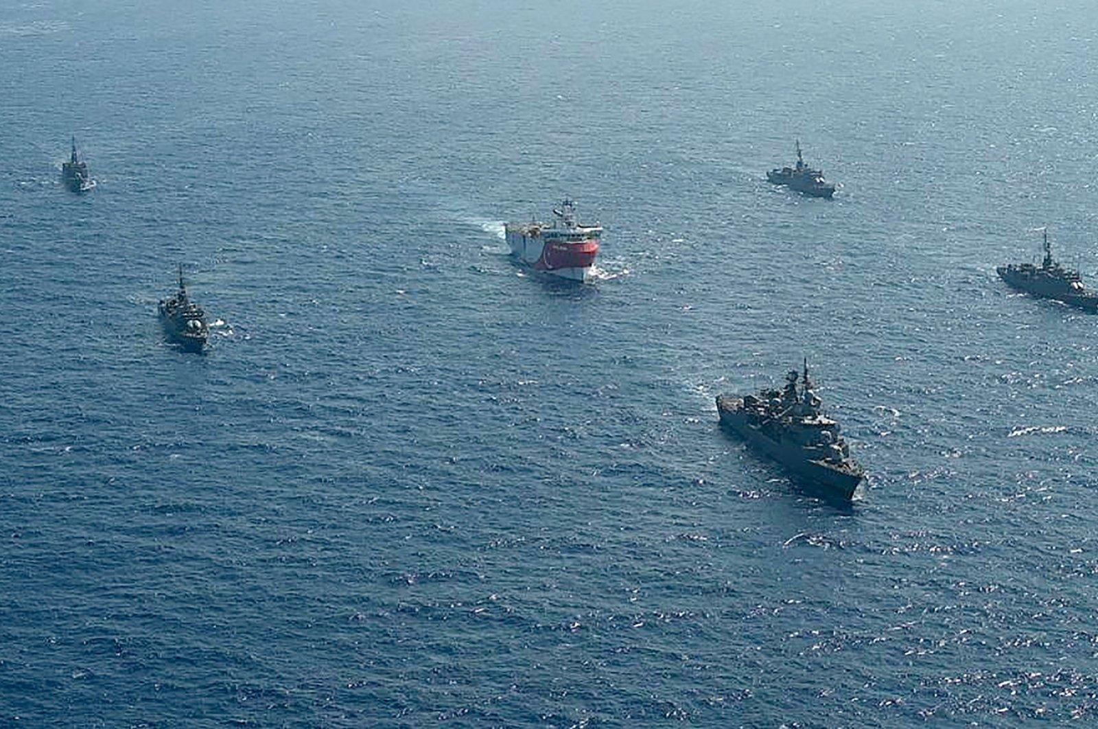 Turkish seismic research vessel Oruç Reis is escorted by Turkish Naval ships in the Mediterranean Sea, off Antalya, August 10, 2020. (AFP Photo)