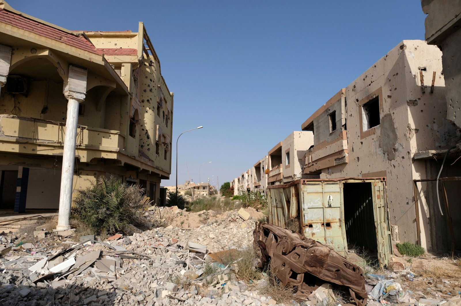 Buildings destroyed during past fighting with Islamic State militants are seen in Sirte, Libya Aug. 18, 2020. (REUTERS)