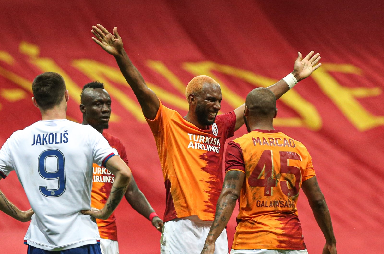 Galatasaray players celebrate after the Europa League match against Hajduk Split, in Istanbul, Turkey, Sept. 24, 2020. (AA Photo)