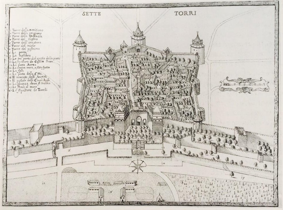 An antique sketch map shows the area of Yedikule Fortress.