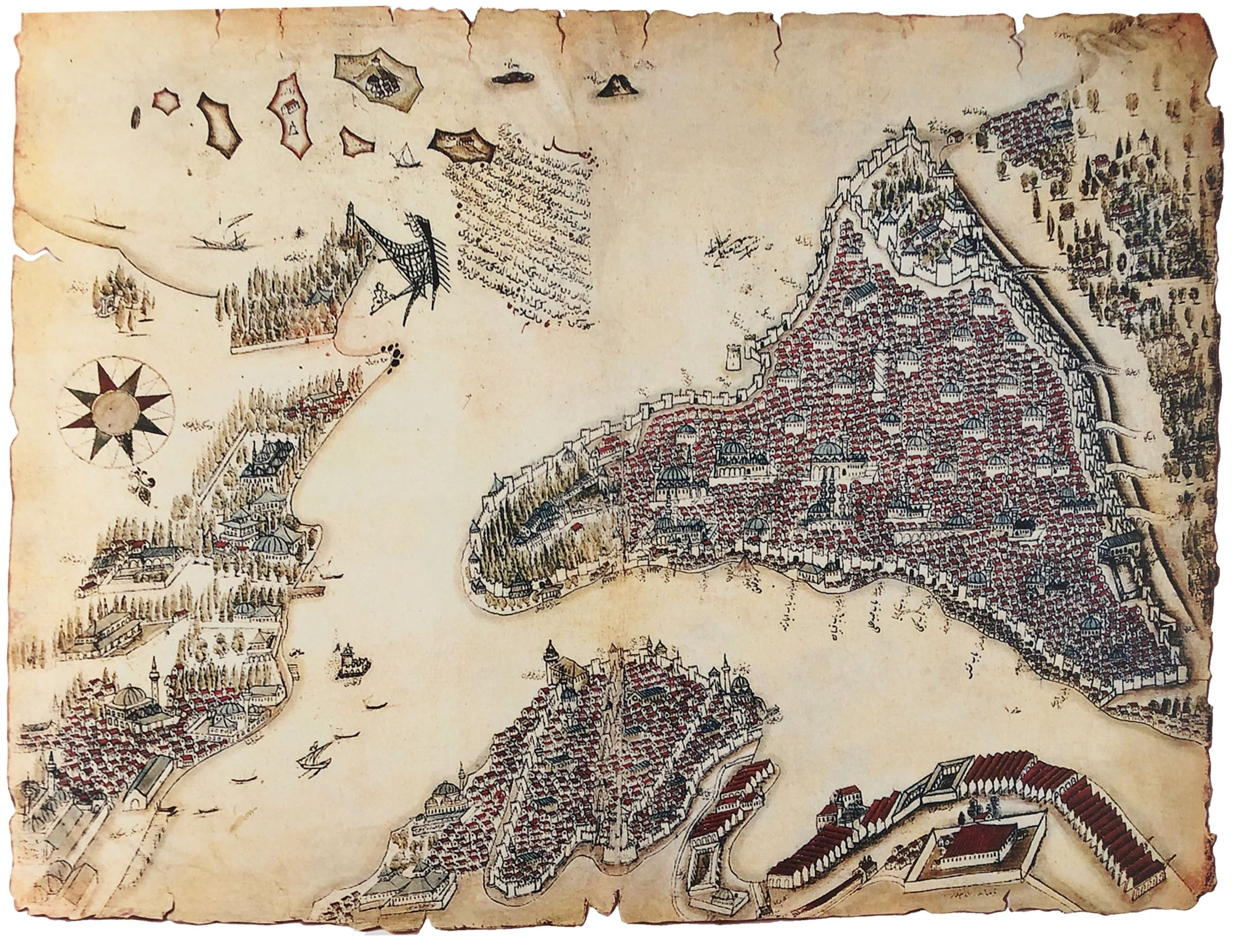This antique engraving of Istanbul shows Yedikule Fortress on the top right-hand corner and its surrounding area.