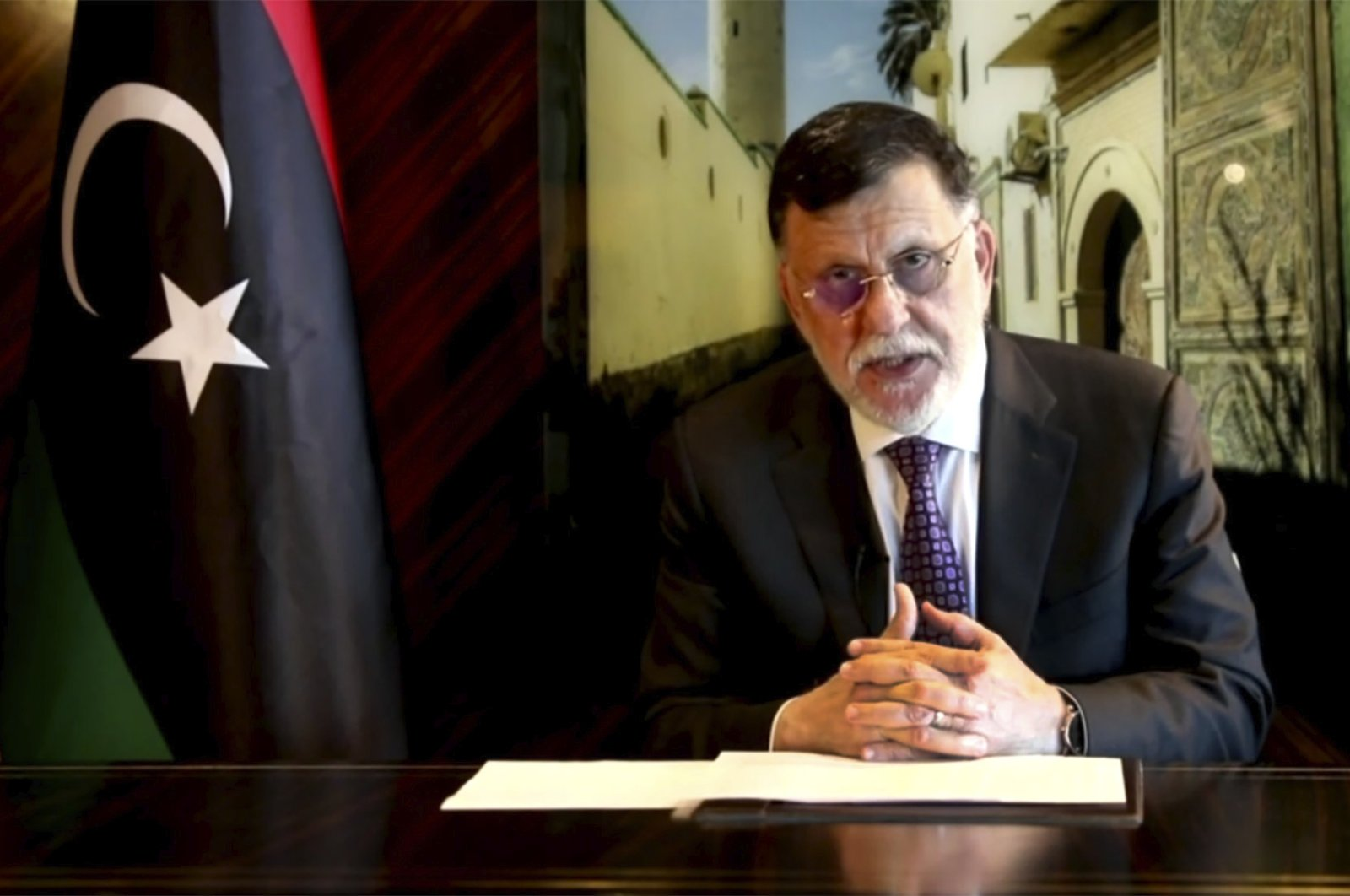 Libya's Prime Minister Fayez Serraj speaks in a pre-recorded message which was played during the 75th session of the United Nations General Assembly, Sept. 24, 2020. (AP Photo)