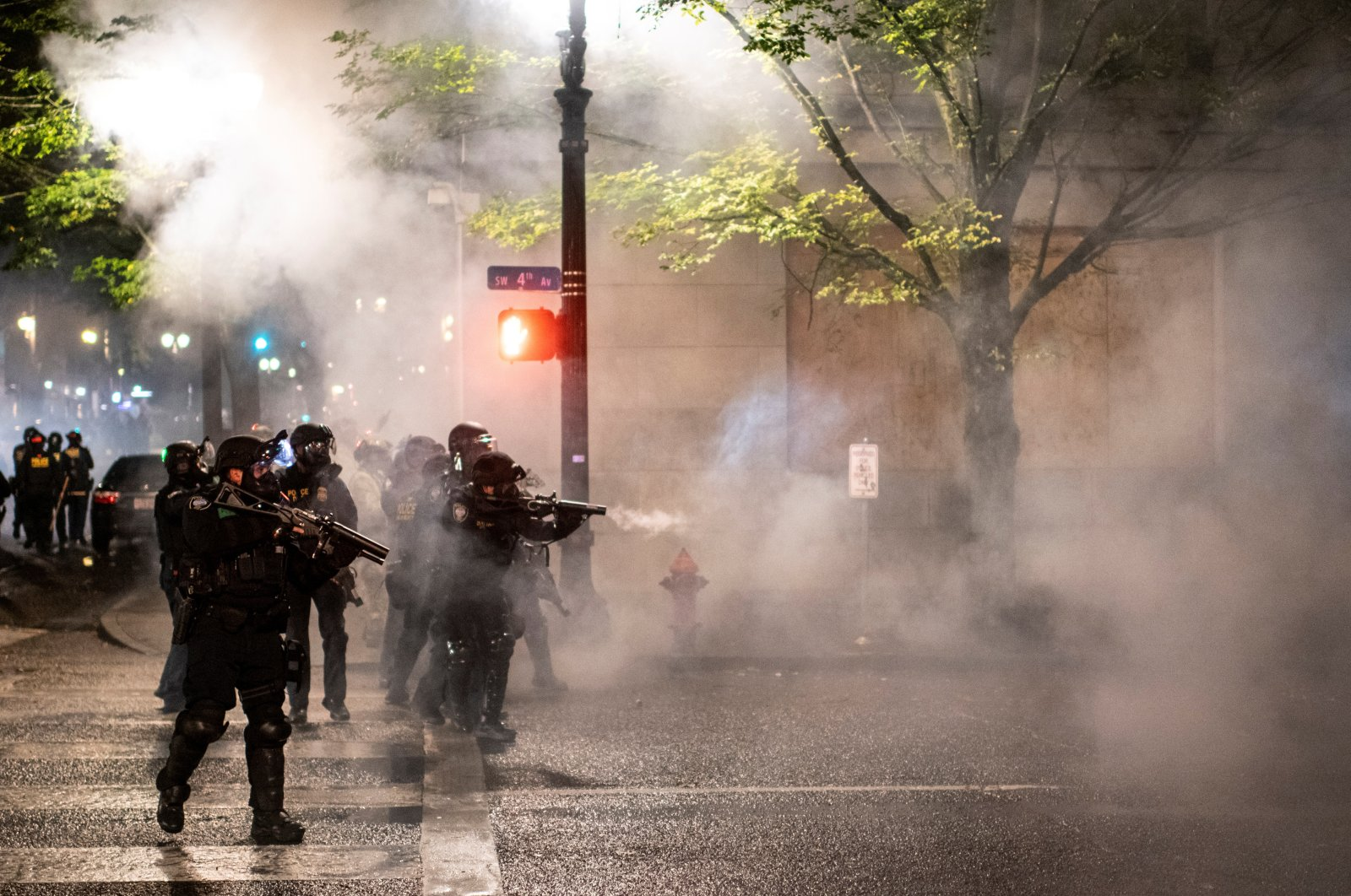 Federal law enforcement officers stand guard during unrest in Portland, Oregon, U.S., Sept. 23, 2020. (Reuters Photo)