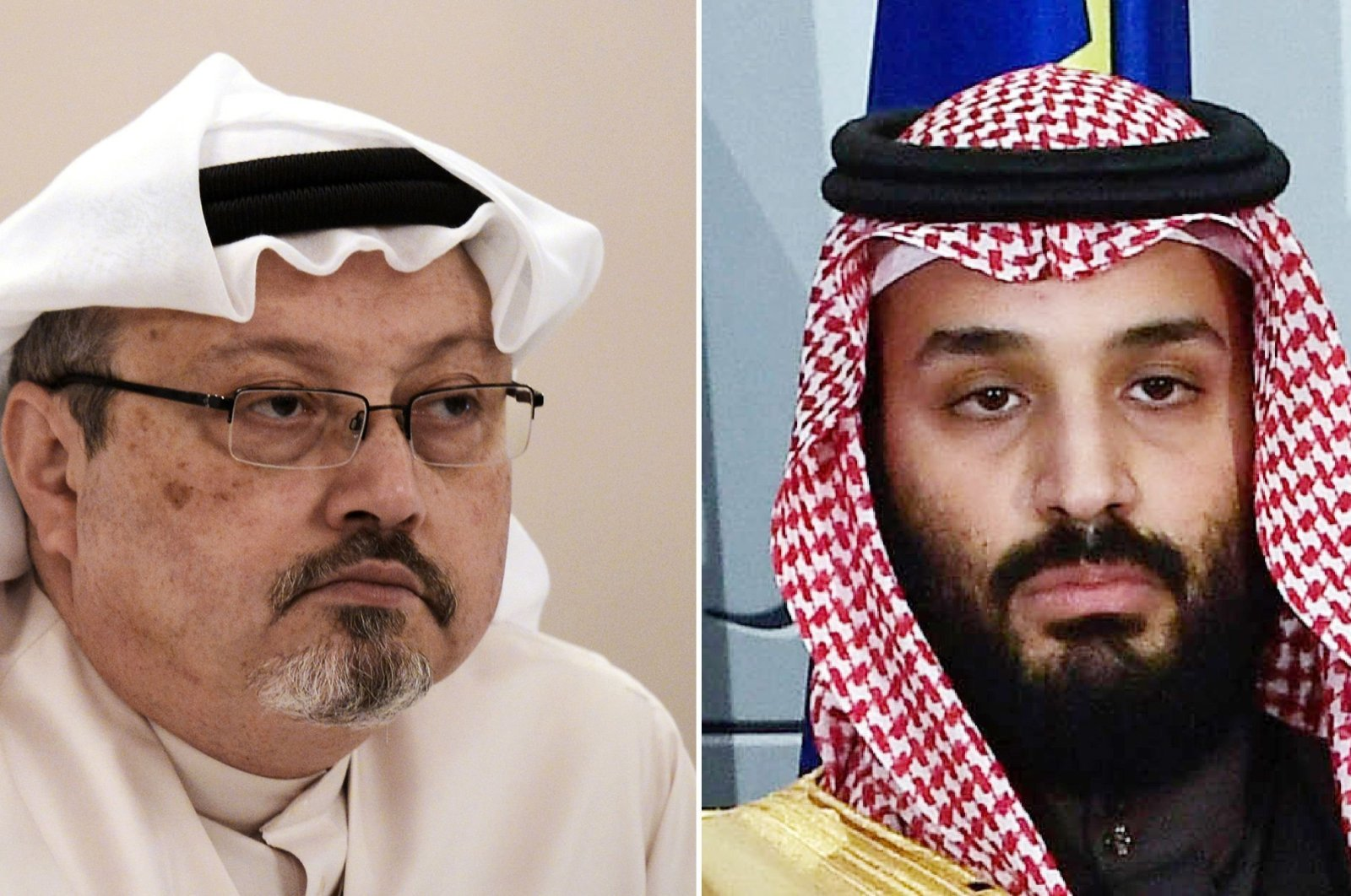 This combination of pictures created on June 20, 2019 shows a file photo taken on December 15, 2014 of Saudi journalist Jamal Khashoggi (L) during a press conference in the Bahraini capital Manama and a file photo taken on April 12, 2018 of Saudi Arabia's crown prince Mohammed bin Salman poses at La Moncloa palace in Madrid. (AFP Photo)