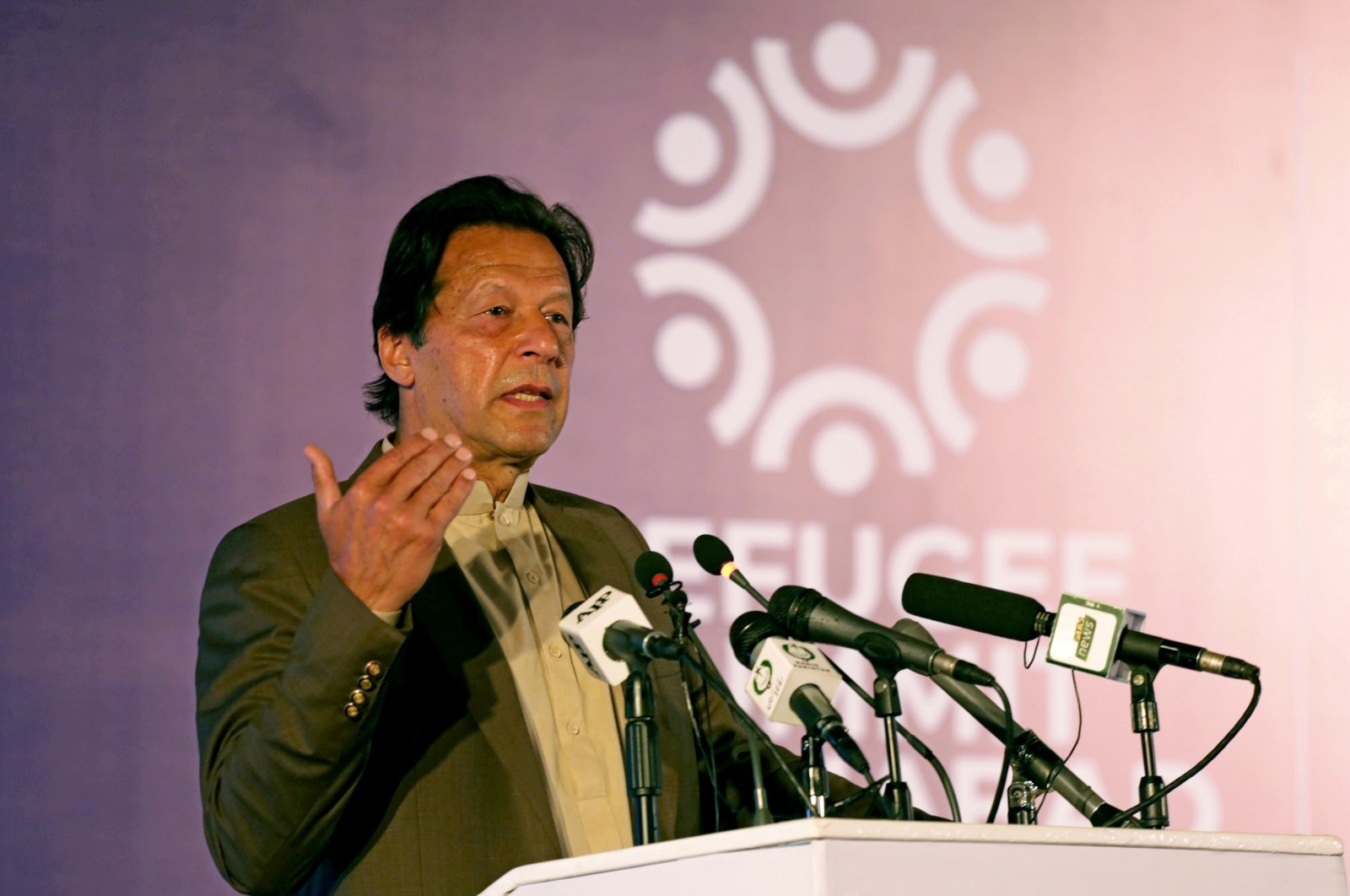 Pakistan's PM Imran Khan speaks during an international conference on the future of Afghan refugees living in Pakistan, organized by Pakistan and the U.N. Refugee Agency in Islamabad, Pakistan Feb. 17, 2020. (Reuters Photo)