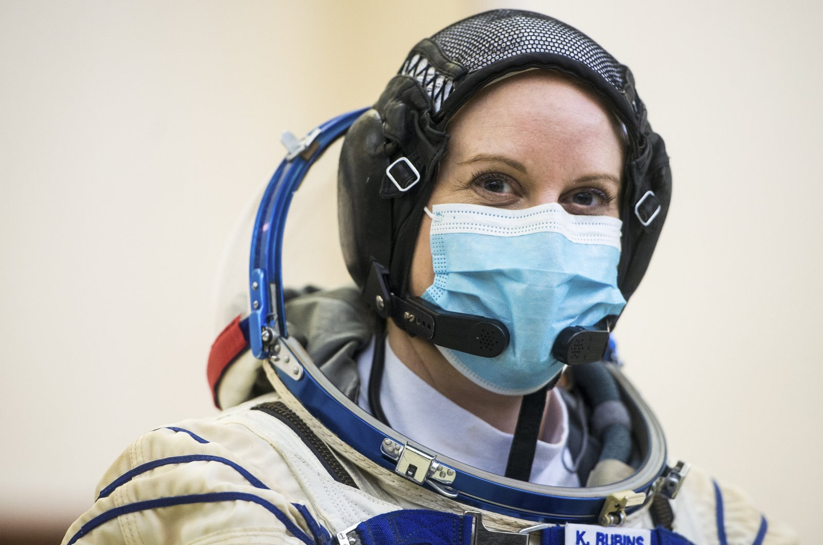Expedition 64 crewmember NASA astronaut Kate Rubins, is seen during Soyuz qualification exams, Sept. 23, 2020, at the Gagarin Cosmonaut Training Center in Star City, Russia.(NASA Photo via AP)