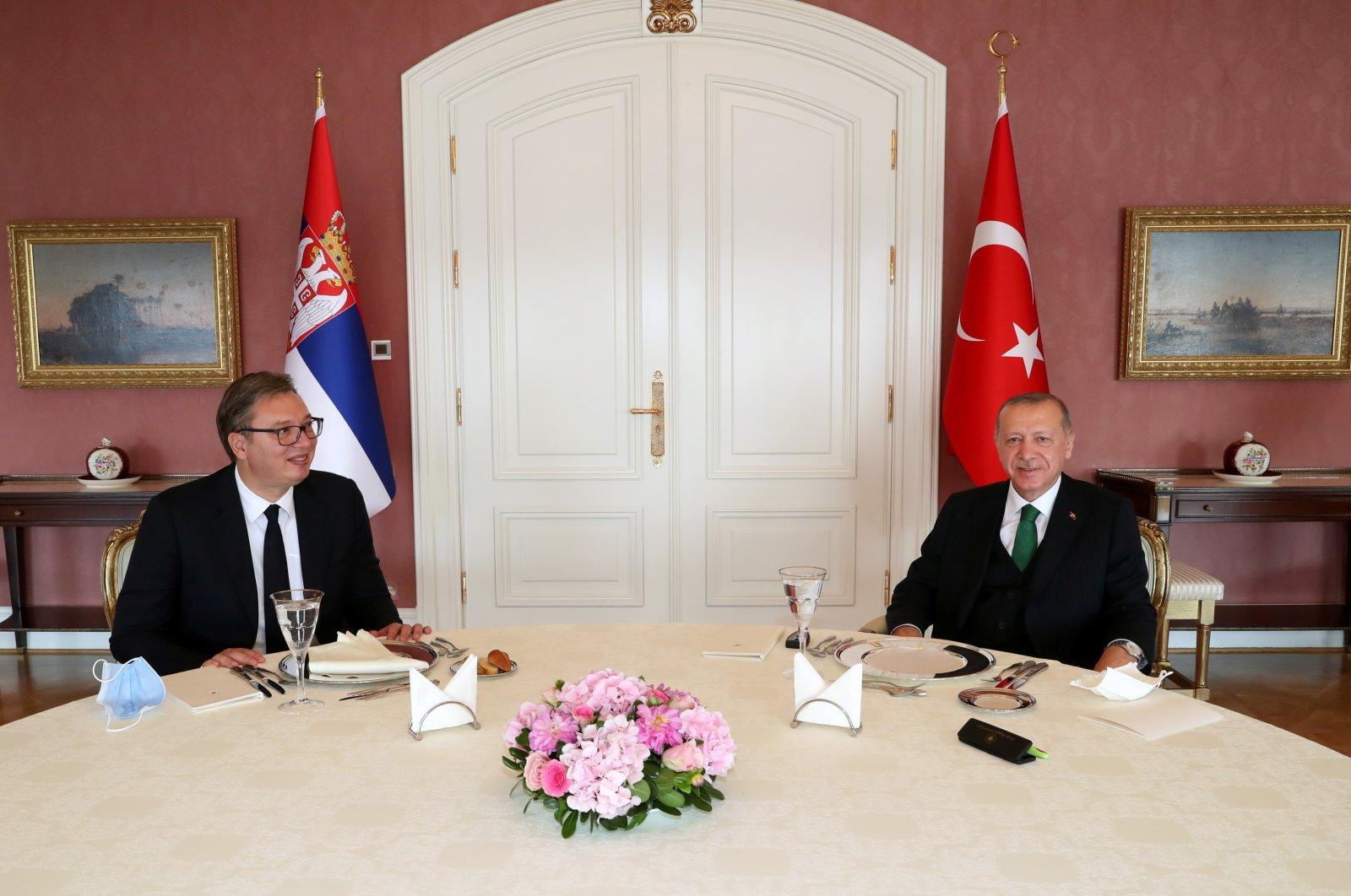 President Tayyip Erdoğan meets with his Serbian counterpart Aleksandar Vucic in Istanbul, Turkey, Sept. 25, 2020. (Reuters Photo)