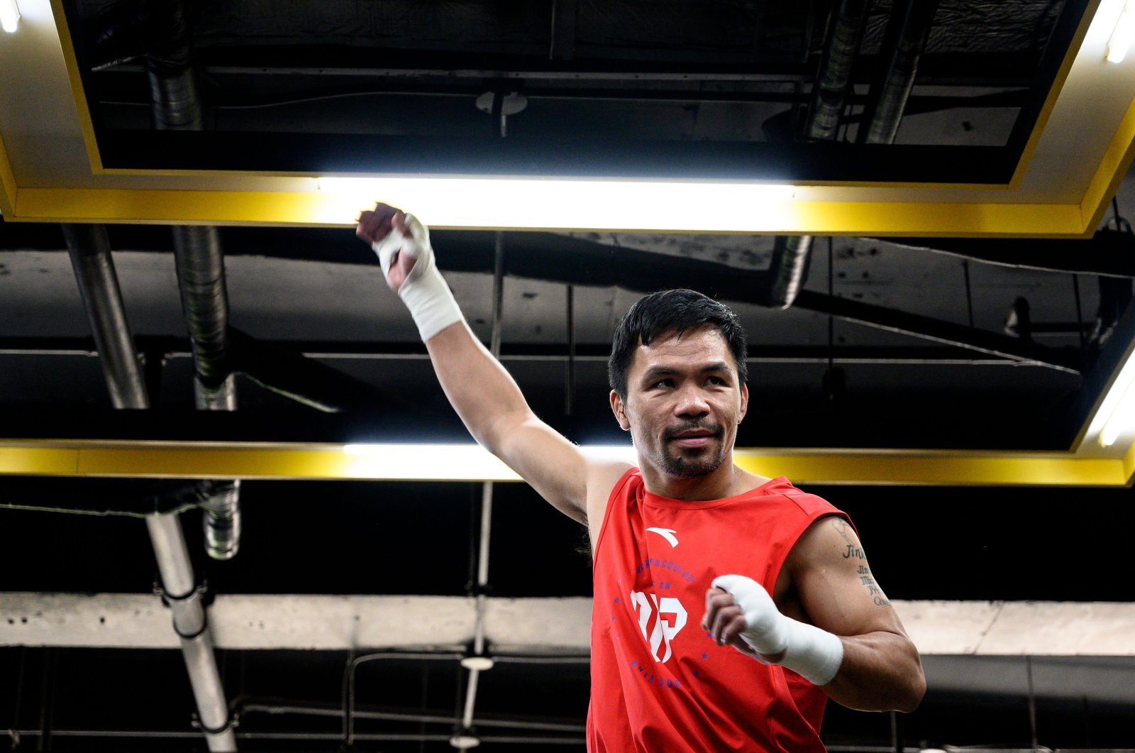 Boxing icon Manny Pacquiao trains at a gym in Manila, Philippines, June 6, 2019. (AFP Photo)