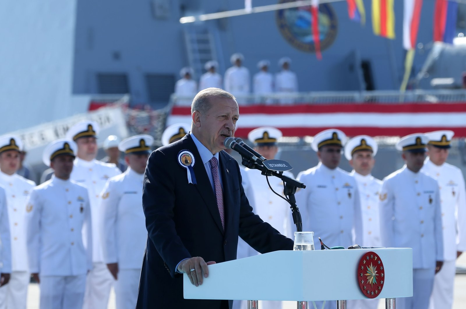 President Recep Tayyip Erdoğan talking at a ceremony marking the delivery of the TGC Kınalıada corvette to Turkish Naval Forces, Sept. 30, 2019. (AA Photo)