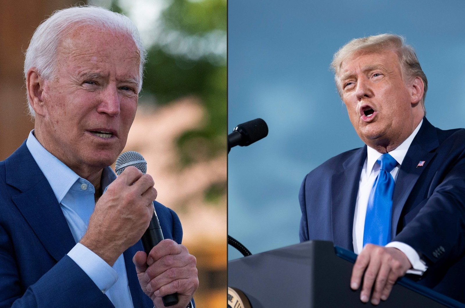 Democratic presidential candidate Joe Biden (L) speaks at the Black Economic Summit at Camp North End in Charlotte, North Carolina, Sept. 23, 2020. U.S. while President Donald Trump (R) speaks during a campaign rally at Cecil Airport in Jacksonville, Florida, Sept. 24, 2020. (AFP Photo)