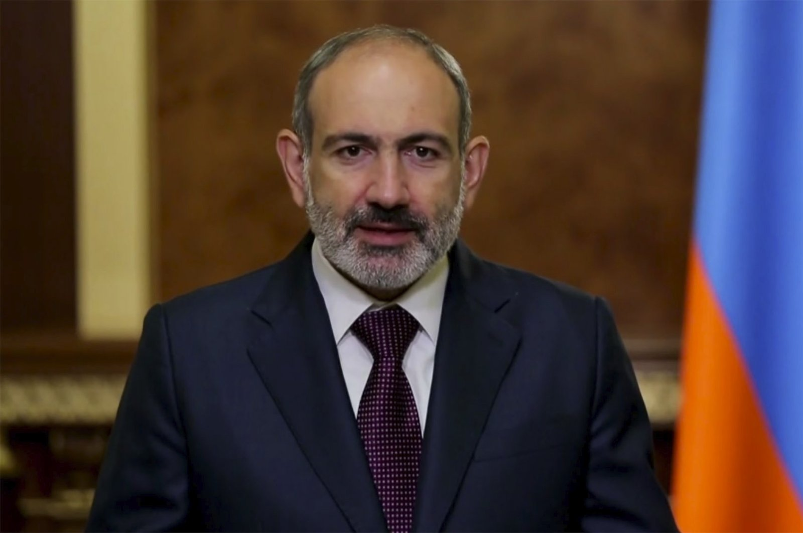 In this image made from UNTV video, Nikol Pashinyan, Prime Minister of Armenia, speaks in a prerecorded message which was played during the 75th session of the U.N. General Assembly, at U.N. headquarters in New York, Sept. 25, 2020. (UNTV via AP)