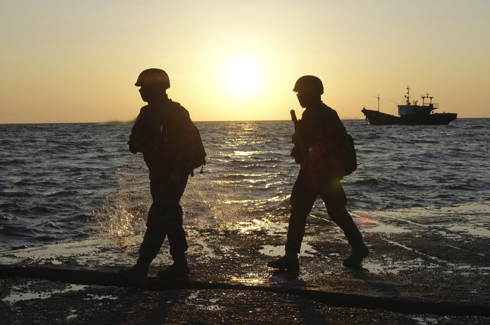 South Korean marine soldiers patrol on Yeonpyeong island, South Korea, Sept. 27, 2020. (AP Photo)