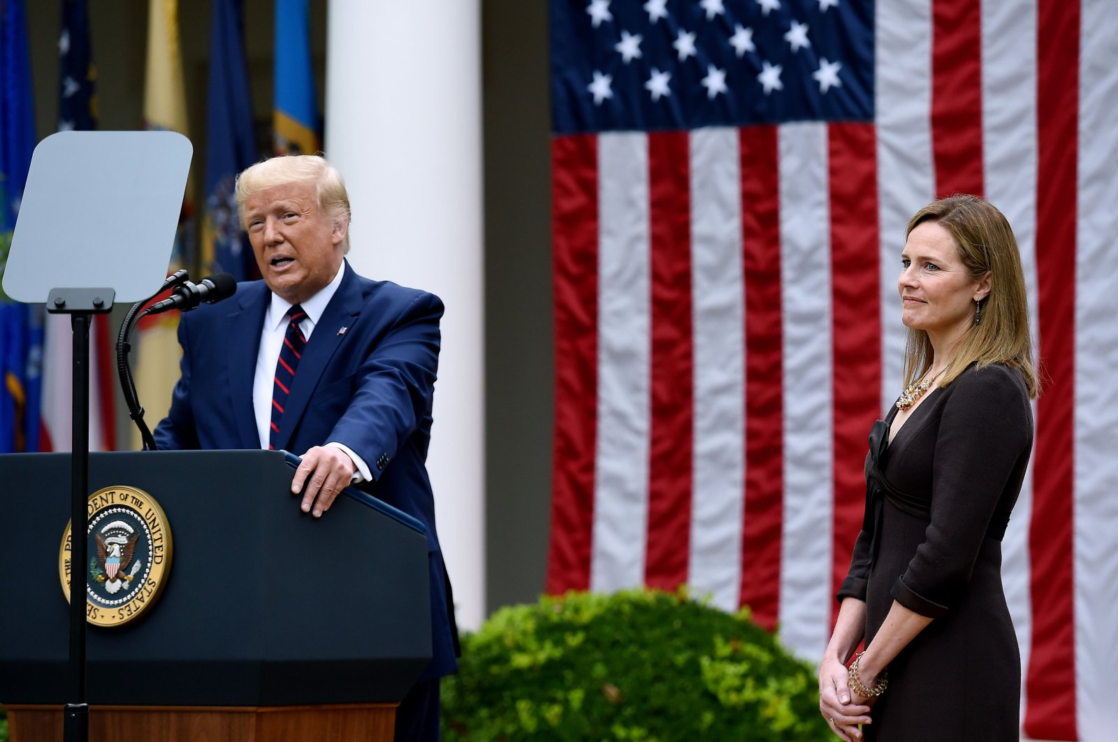 U.S. President Donald Trump speaks next to Judge Amy Coney Barrett at the Rose Garden of the White House, Washington, D.C., Sept. 26, 2020. (AFP Photo)