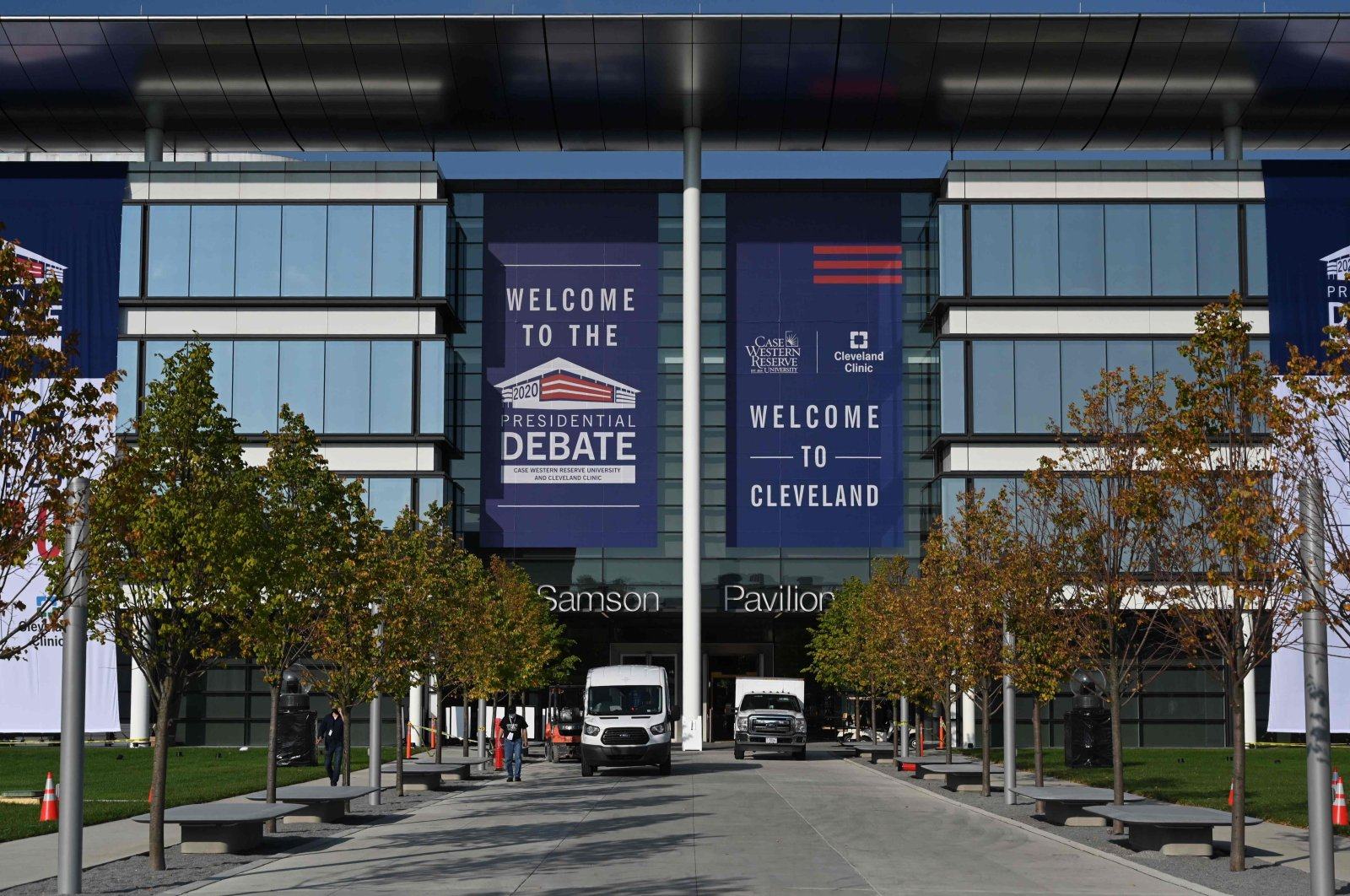 The site of the first Presidential debate is seen on Sept. 27, 2020, in Cleveland Ohio. (AFP Photo)