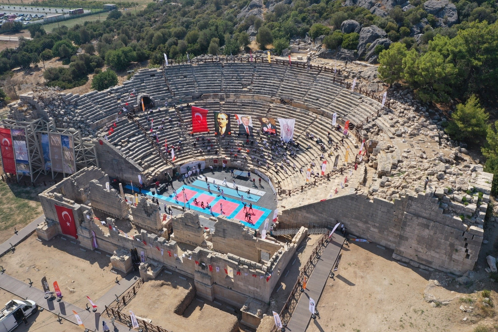 A photo from the sporting events held during the European Week of Sport in the ancient city of Patara, Antalya, southern Turkey, Sept. 23, 2020. (AA PHOTO)