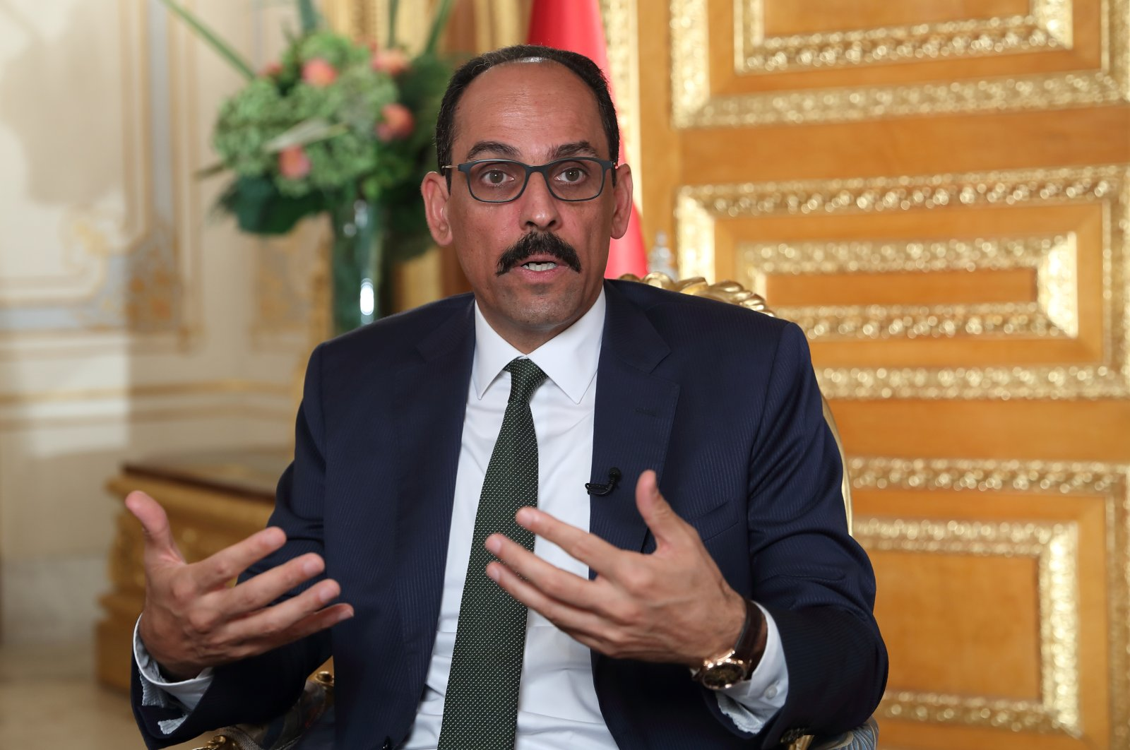 Presidential Spokesperson Ibrahim Kalın during an interview with Reuters in Istanbul, Sept. 27, 2020. (Reuters Photo)