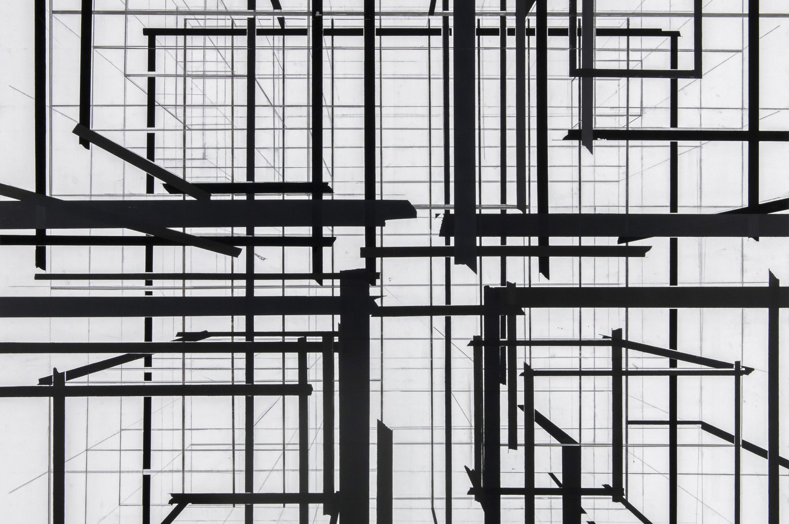 """Nuri Kuzucan, """"Perspective,"""" 2020, acrylic on canvas, 195 by 185 centimeters (photo courtesy of Galerist)."""