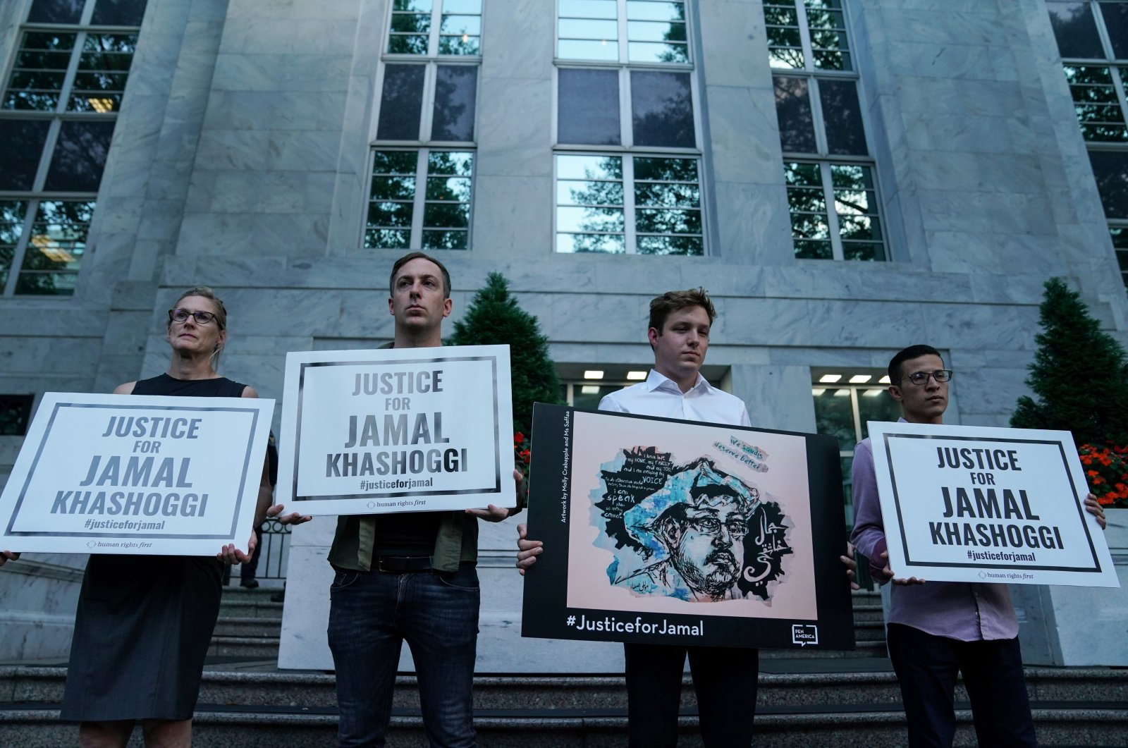 The Committee to Protect Journalists and other press freedom activists hold a candlelight vigil in front of the Saudi Embassy to mark the anniversary of the killing of journalist Jamal Khashoggi at the kingdom's consulate in Istanbul, Washington, D.C., Oct. 2, 2019. (Reuters Photo)
