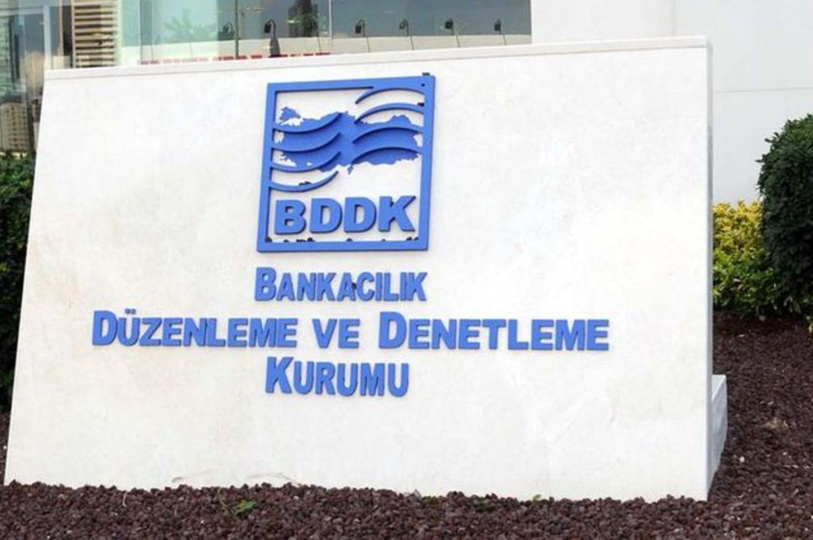 The Banking Regulation and Supervision Agency (BDDK) logo in front of its headquarters in Istanbul, Turkey. (File Photo)