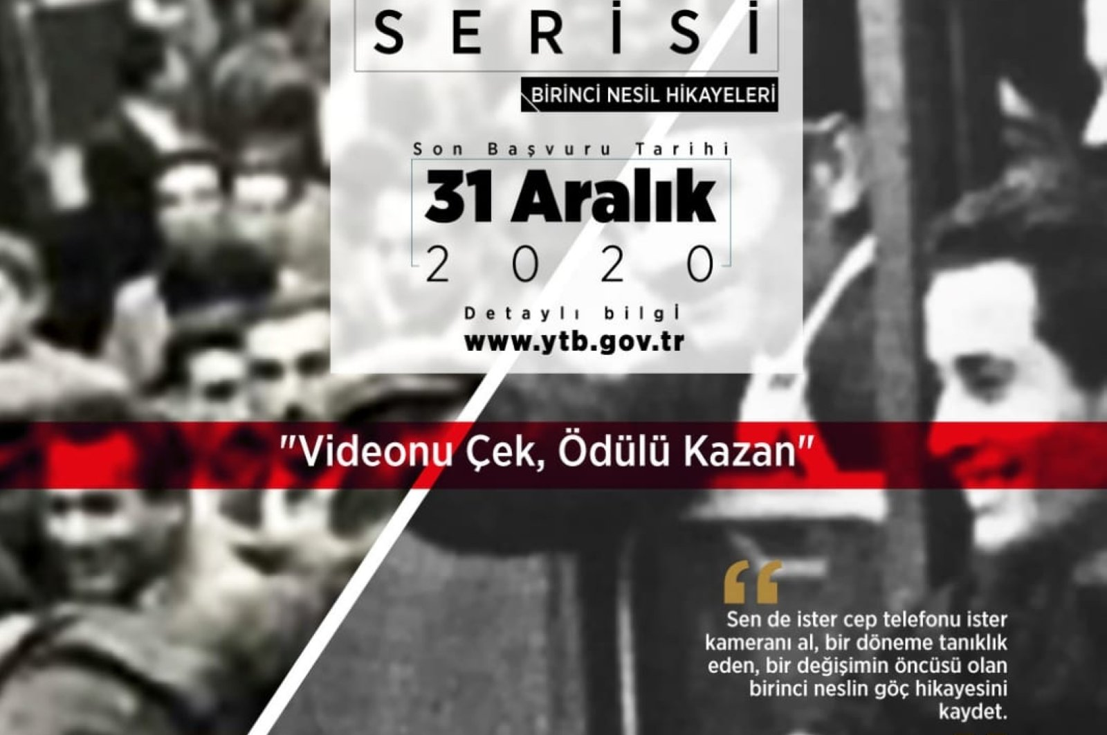 """A poster for """"Human Treasures Series – First Generation Stories Call"""" by the Presidency for Turks Abroad and Related Communities. (AA PHOTO)"""