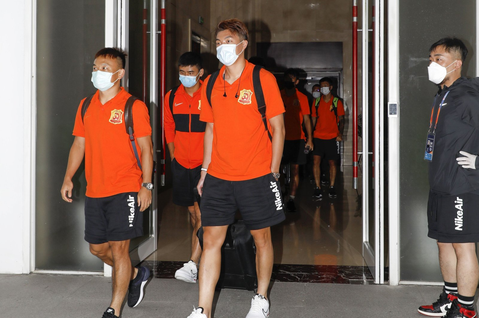 Wuhan Zall football team arrives in 'bubble' hotel in Suzhou, China, July 19, 2020. (AFP Photo)