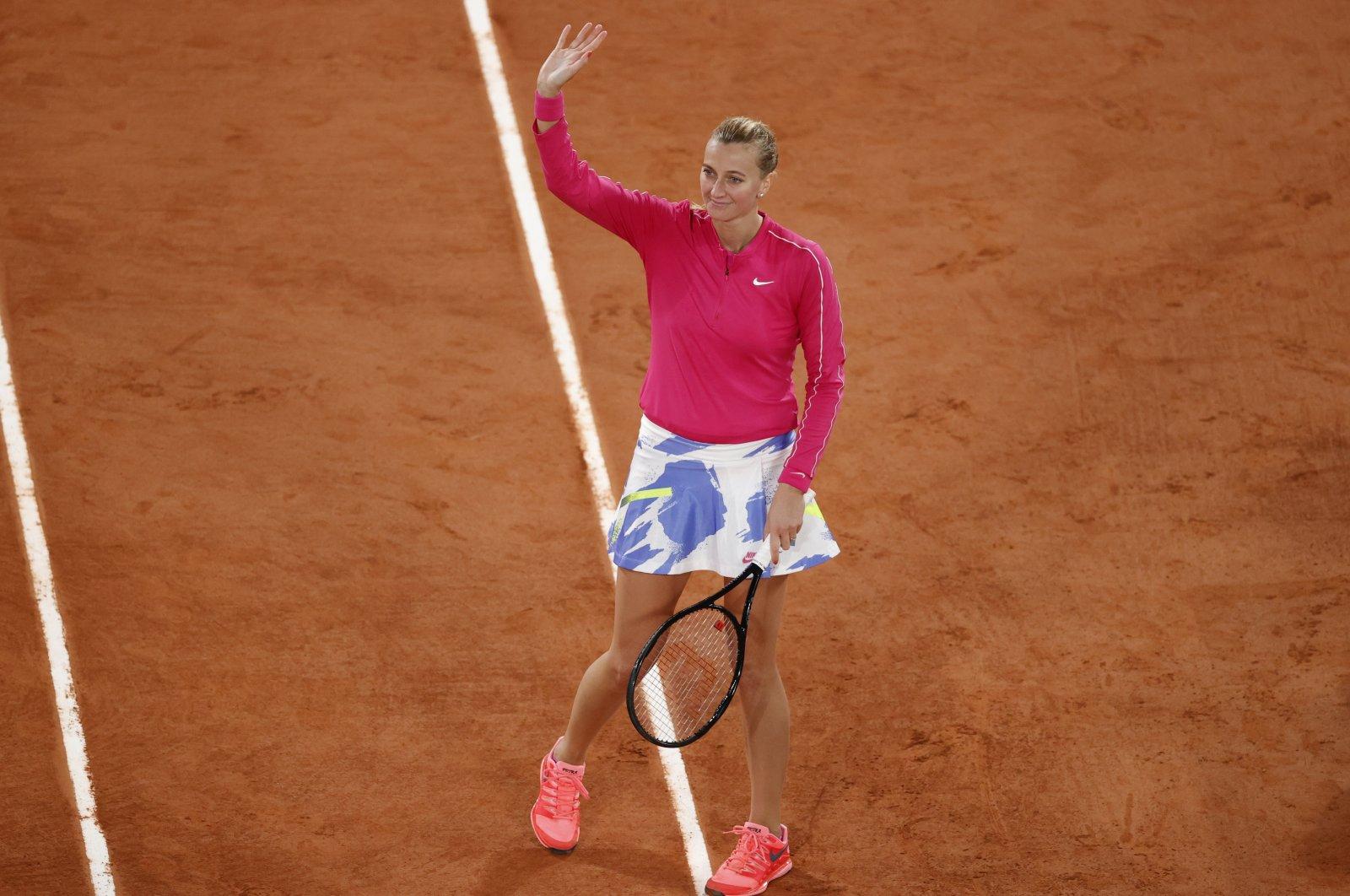 Petra Kvitova celebrates her win against Dodin, in Paris, France, Sept. 28, 2020. (Reuters Photo)