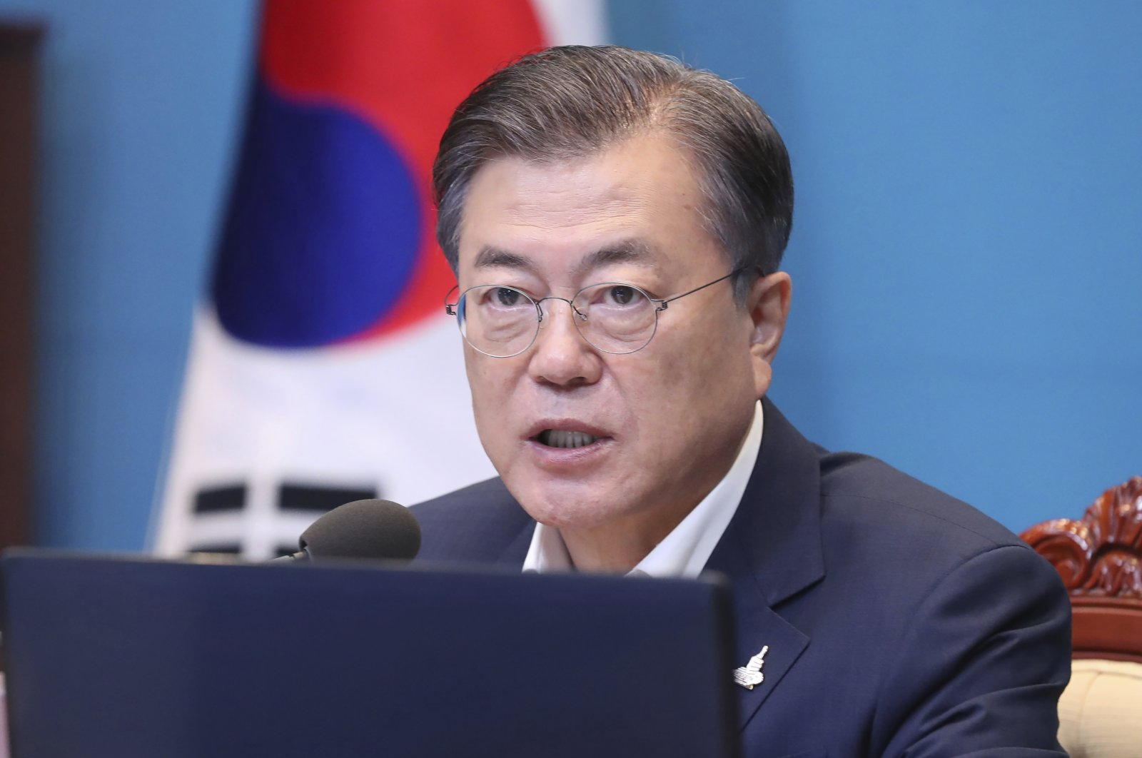 South Korean President Moon Jae-in speaks during a meeting with his senior secretaries at the presidential Blue House, Seoul, Sept. 28, 2020. (AP Photo)