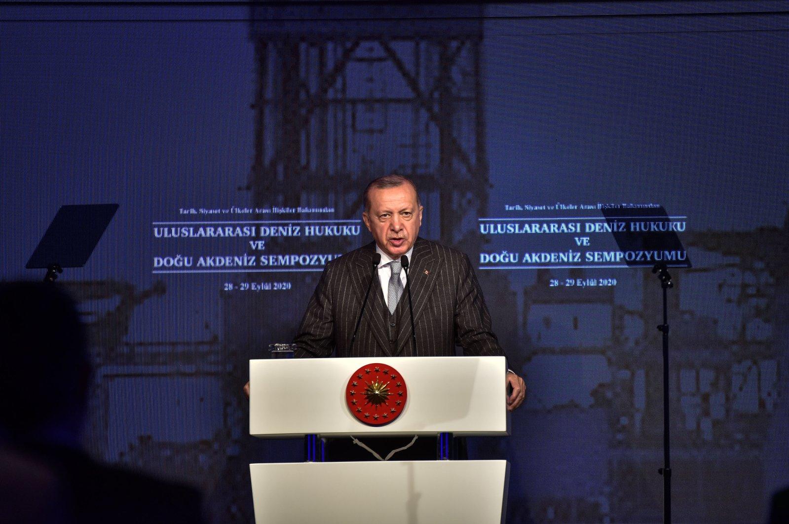 President Recep Tayyip Erdoğan speaks at the International Maritime Law and Eastern Mediterranean Symposium in Istanbul, Turkey, Sept. 28, 2020 (DHA Photo)