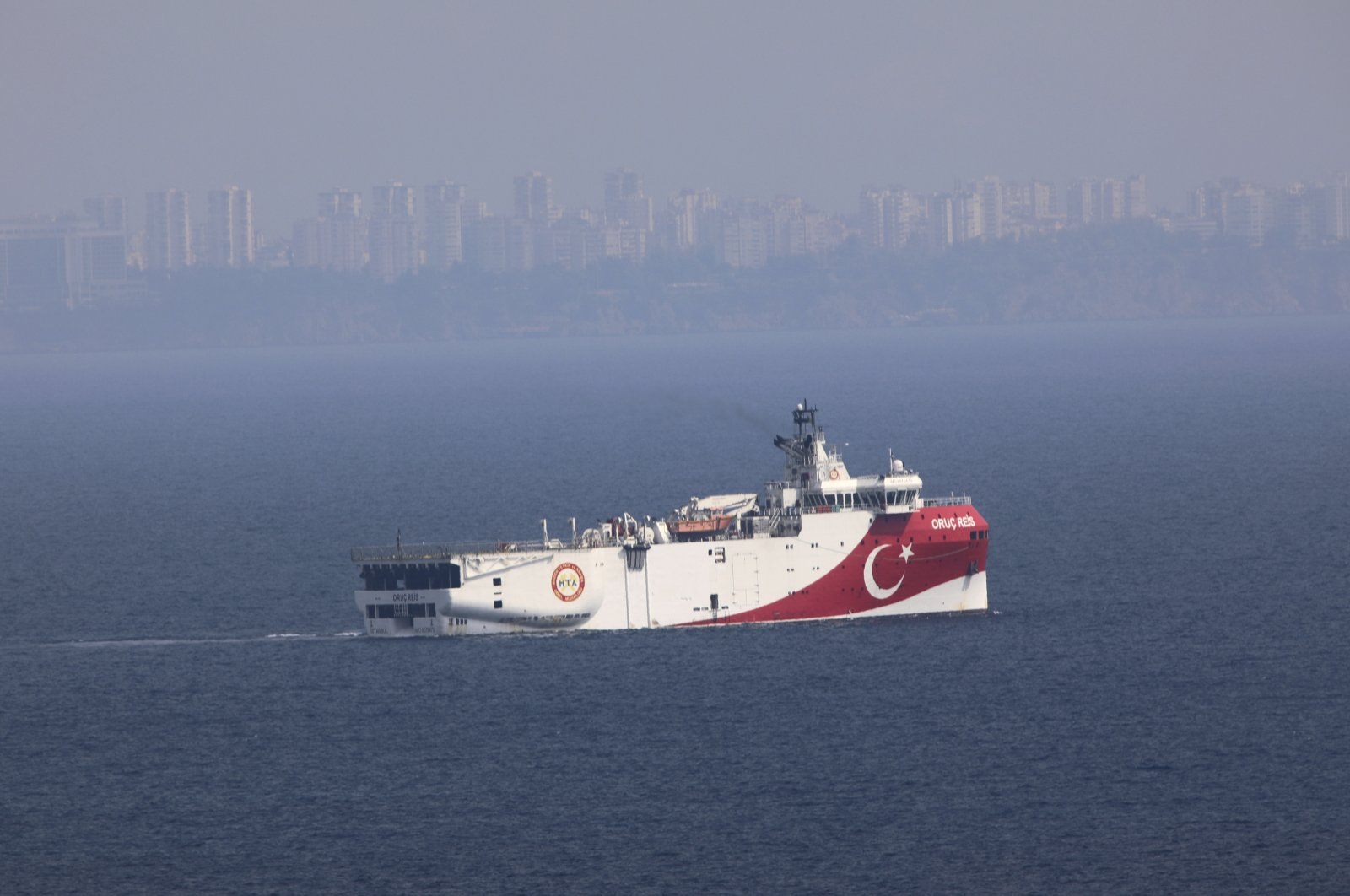 A view of Turkey's research vessel Oruç Reis anchored off the coast of Antalya on the Mediterranean, Turkey, Sept. 27, 2020. (AP Photo)