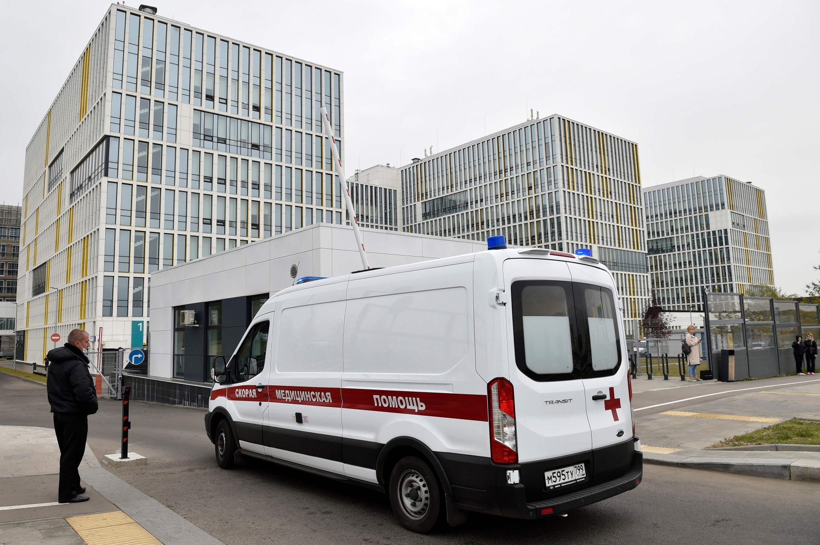 An ambulance drives into the yard of a hospital in Kommunarka outside Moscow, Russia, Sept. 28, 2020. (AFP Photo)