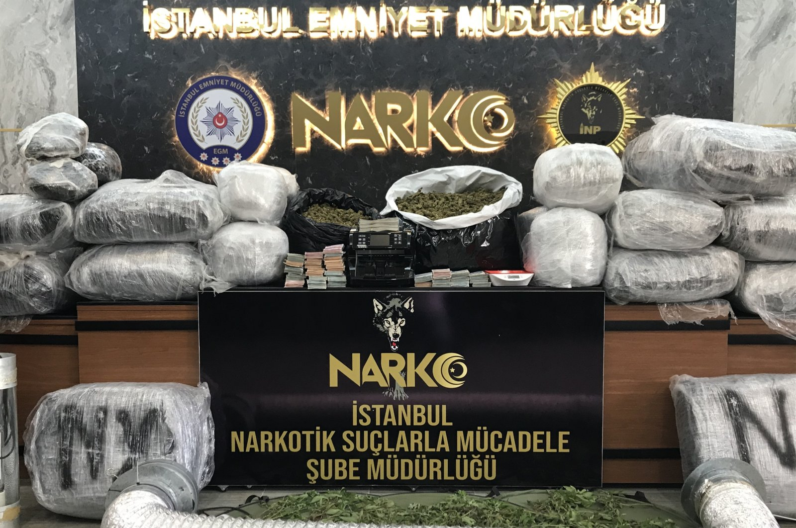 Cannabis and other materials seized in operations on display at police headquarters in Istanbul, Turkey, Sept. 28, 2020. (AA Photo)