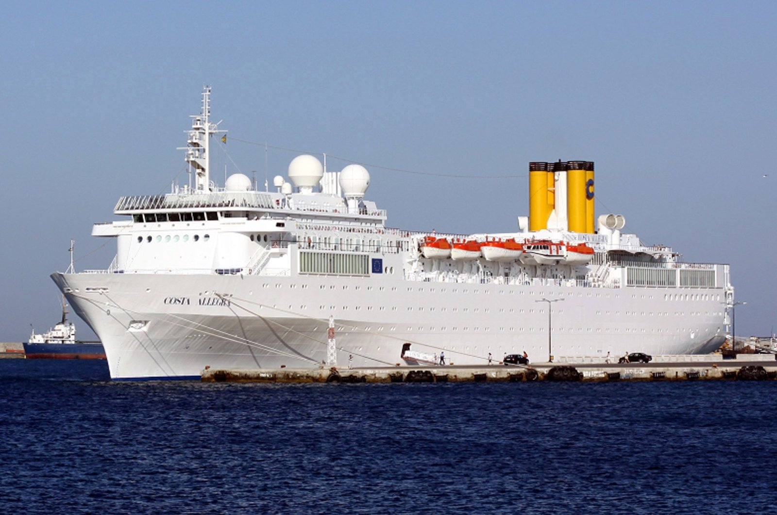 This handout photo taken on June 10, 2011, near the Greek island of Rhodes, shows the Costa Allegra cruise liner. (AFP Photo)