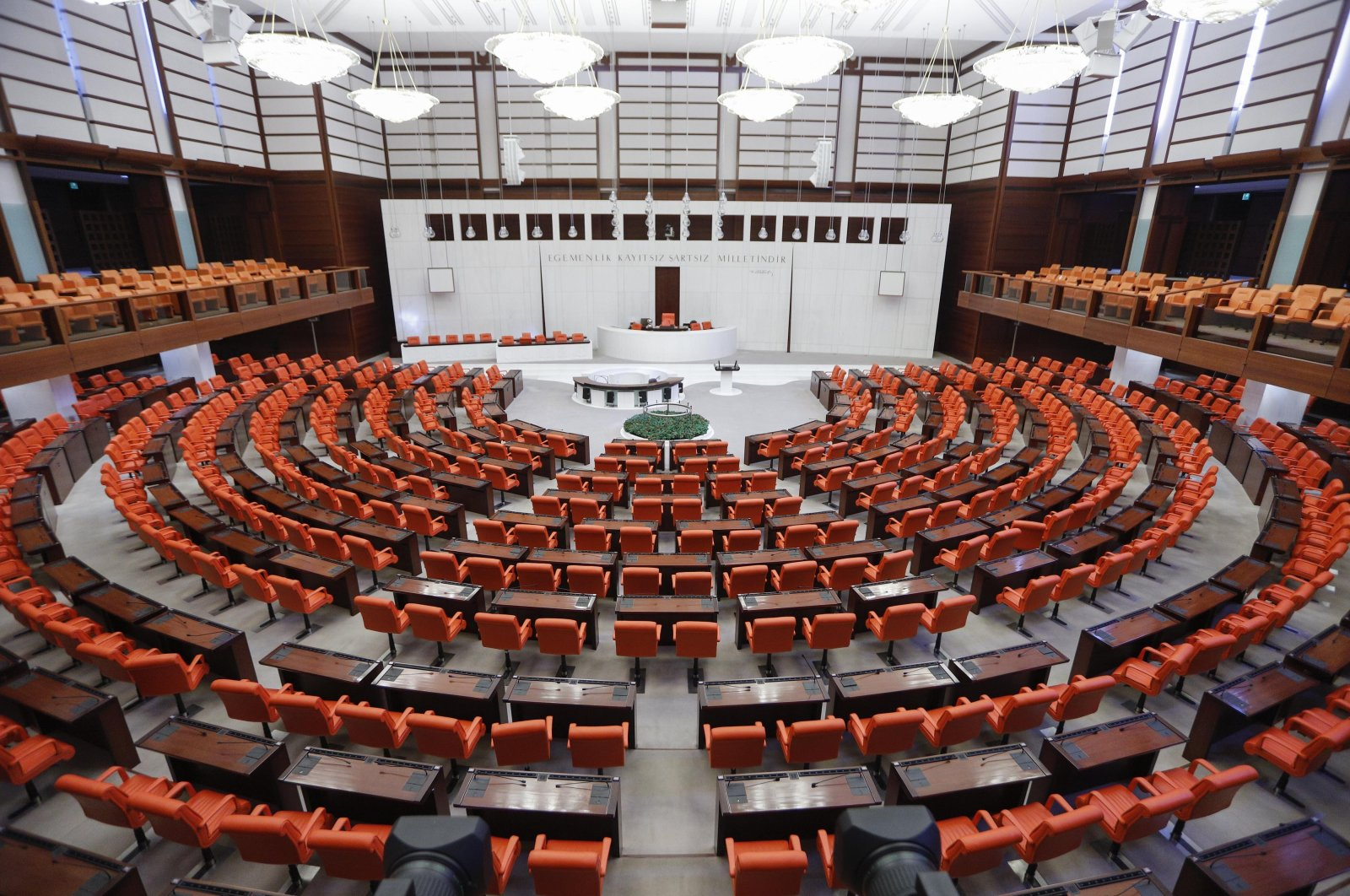 The Turkish Grand National Assembly (TBMM) is seen during regular disinfection activities as a precaution against COVID-19, Ankara, Turkey, Sept. 27, 2020 (DHA Photo)
