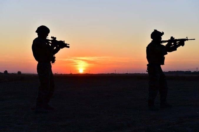 The silhouettes of Turkish soldiers are seen in this undated photo released on Sept. 28, 2020. (DHA Photo)