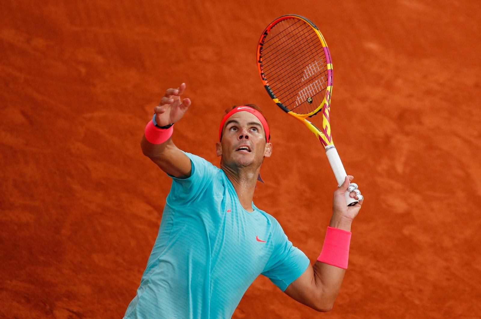 Rafael Nadal in action during his French Open first round match against Egor Gerasimov, in Paris, France, Sept. 28, 2020. (Reuters Photo)