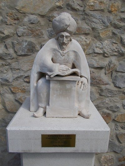 A statue of Evliya Celebi close to the Castle of Eger in Hungary.