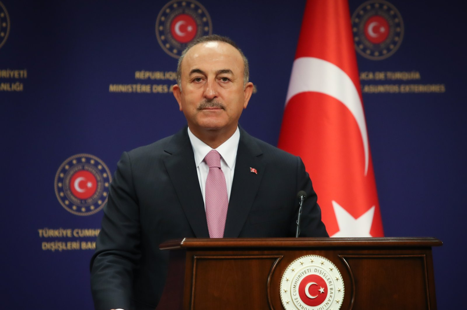 Foreign Minister Mevlüt Çavuşoğlu listens during a news conference in Ankara, Turkey, Sept. 1, 2020. (AA Photo)