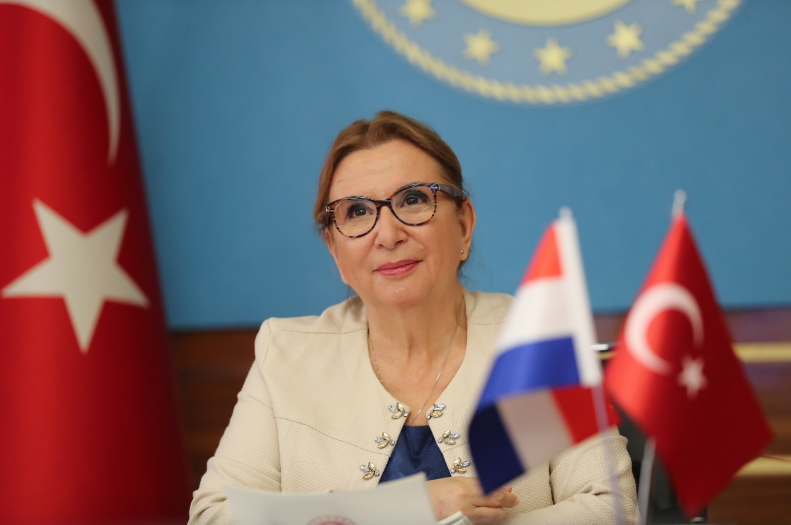 Trade Minister Ruhsar Pekcan attends the Turkish-Dutch Joint Economic and Trade Committee (JETCO) meeting held virtually, Ankara, Sept. 28, 2020. (AA Photo)
