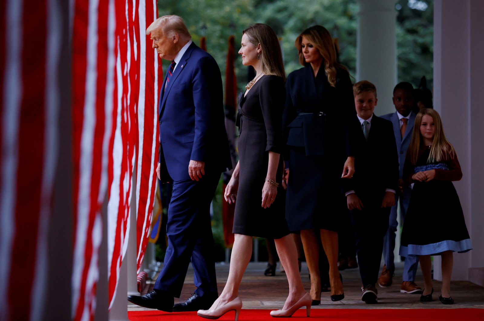 U.S. President Donald Trump arrives to hold an event to announce his nominee for the U.S. Court of Appeals for the Seventh Circuit Judge Amy Coney Barrett to fill the Supreme Court seat left vacant by the death of Justice Ruth Bader Ginsburg, who died on Sept. 18, at the White House in Washington, D.C., Sept. 26, 2020. (Reuters Photo)