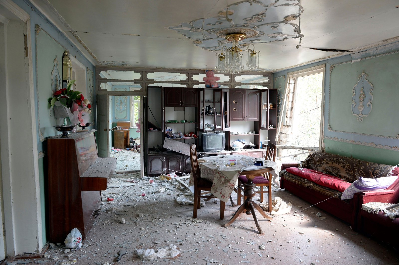 An interior view of a house damaged in a recent shelling by Armenian separatist terrorists in the village of Sahlabad outside the Azerbaijani city of Tartar on Sept. 29, 2020. (AFP Photo)