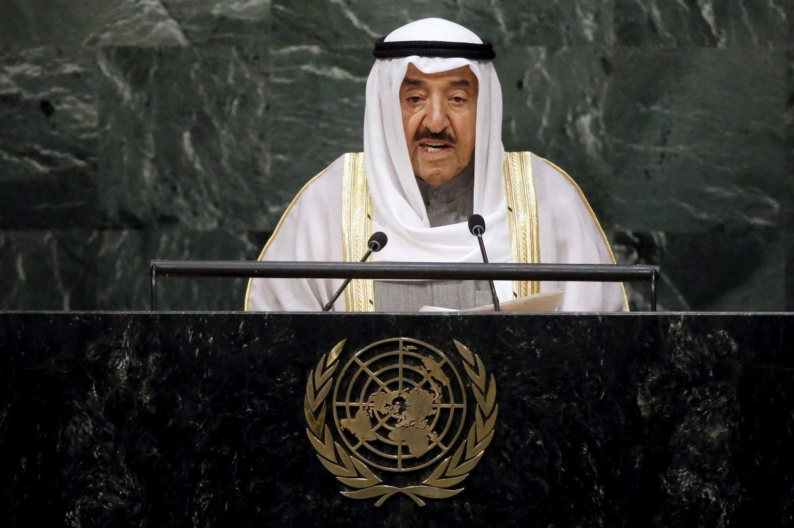 Kuwait's Emir Sheikh Sabah Al Ahmad Al Sabah addresses a plenary meeting of the United Nations Sustainable Development Summit 2015 at the U.N. headquarters in New York City, New York, U.S., Sept. 26, 2015. (Reuters Photo)