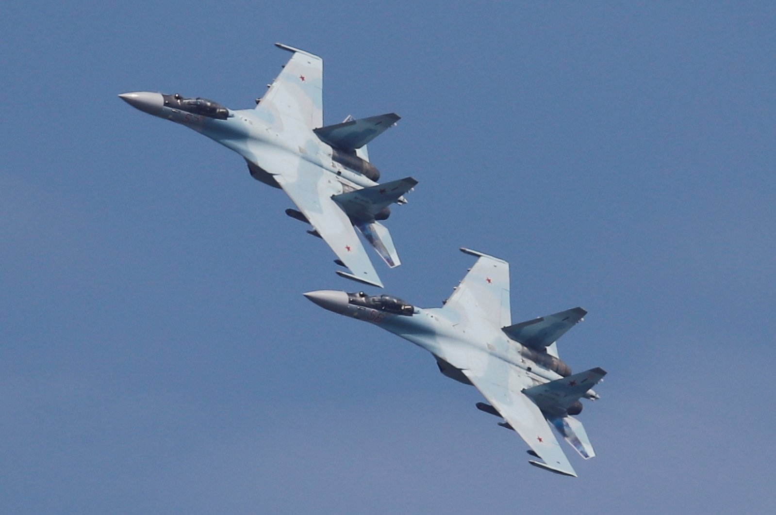Sukhoi Su-35 jet fighters fly in formation during the Aviadarts competition, as part of the International Army Games 2018, at the Dubrovichi range outside Ryazan, Russia, Aug. 4, 2018. (Reuters File Photo)