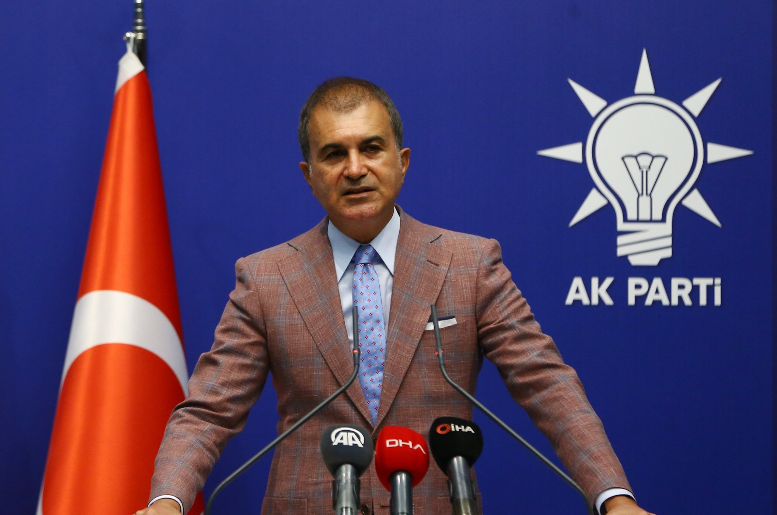 The spokesperson of the ruling Justice and Development Party (AK Party) speaks after the Central Executive Committee (MYK) meeting of the party in Ankara, Turkey, Sept. 23, 2020. (AA Photo)