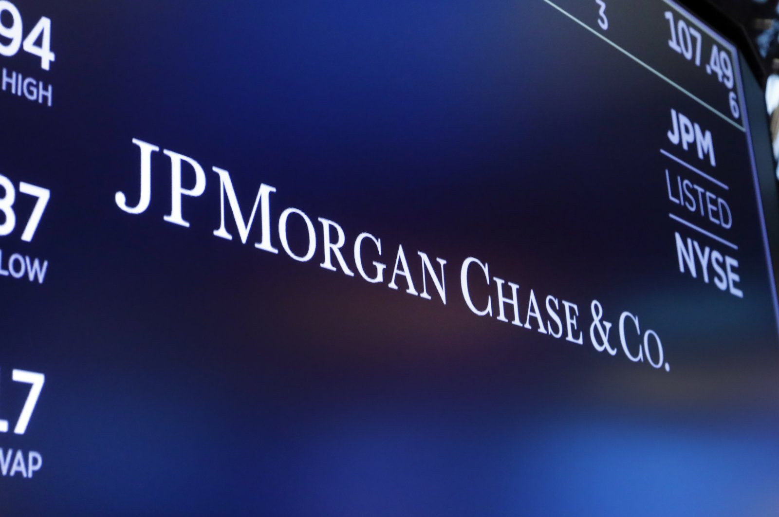 The logo for JPMorgan Chase & Co. appears above a trading post on the floor of the New York Stock Exchange in New York, Aug. 16, 2019. (AP Photo)
