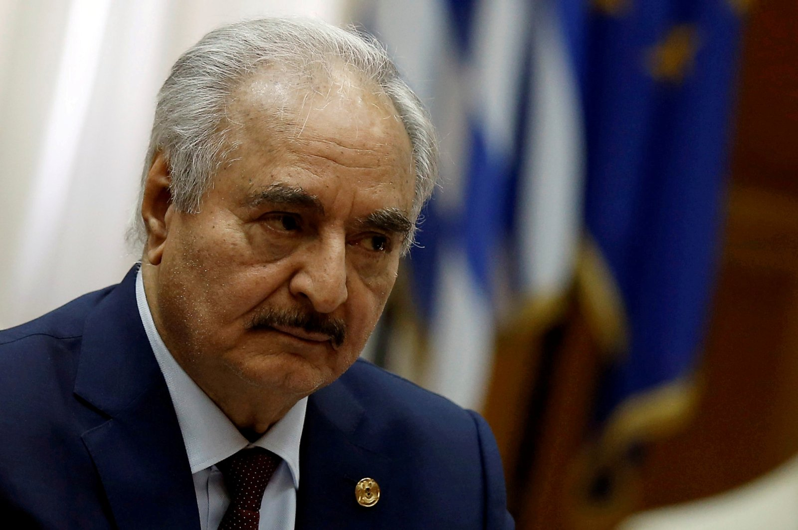Libyan warlord Khalifa Haftar at the Parliament in Athens, Greece, Jan. 17, 2020. (Reuters Photo)