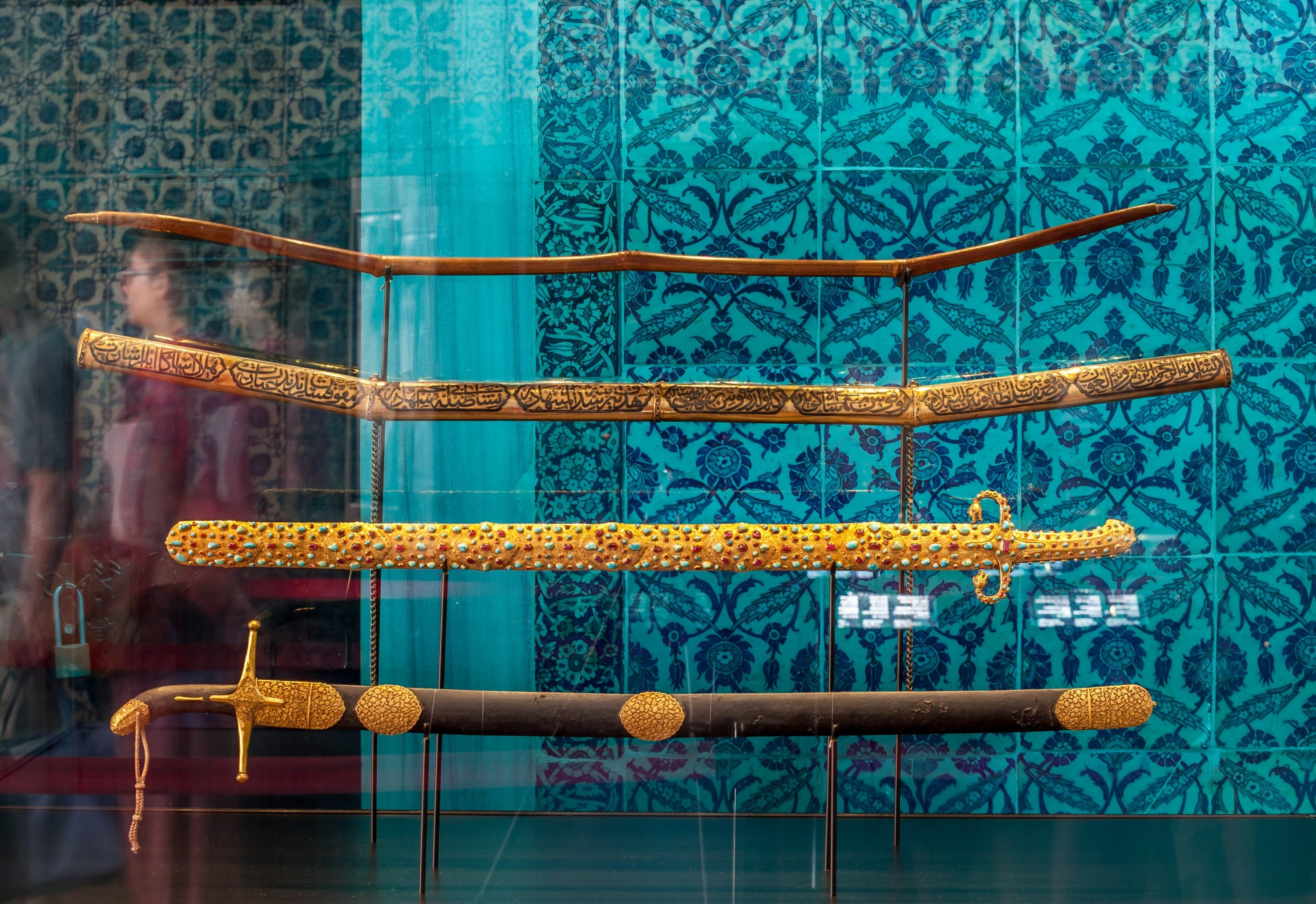 The swords of the Prophet Muhammad are seen at the privy chamber of Topkapı Palace, Istanbul, July 17, 2014. (Photo by Recai Kömür)