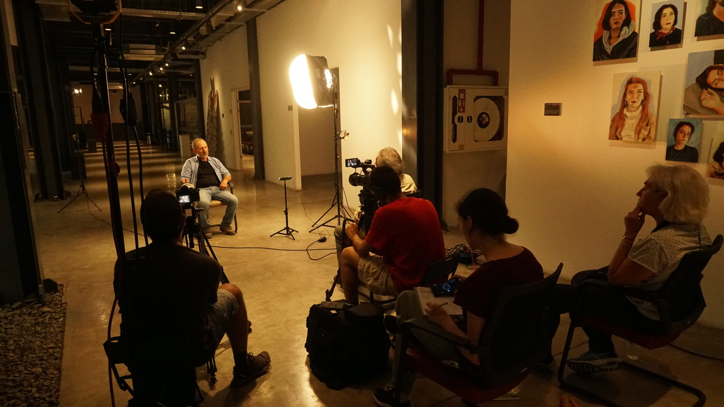 A behind-the-scene photo of the documentary.
